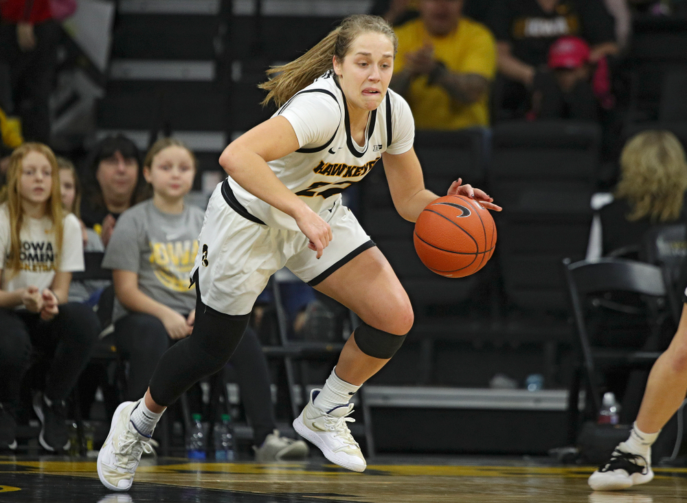 Iowa Hawkeyes guard Kathleen Doyle (22) heads down court after stealing the ball away during the third quarter of their game at Carver-Hawkeye Arena in Iowa City on Sunday, January 26, 2020. (Stephen Mally/hawkeyesports.com)