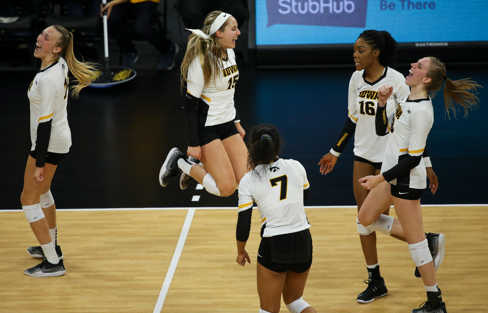 Iowa Hawkeyes defensive specialist Maddie Slagle (15) reacts after winning a point during a game against Purdue at Carver-Hawkeye Arena on October 13, 2018. (Tork Mason/hawkeyesports.com)