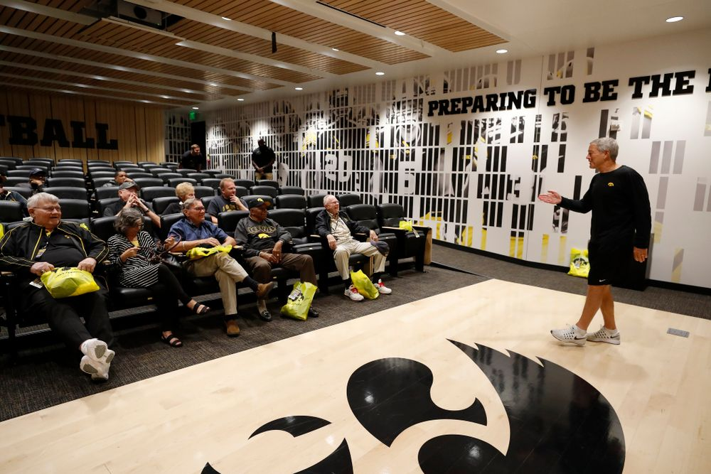 Iowa Hawkeyes head coach Kirk Ferentz talks with members of the 1958 National Championship Team as they tour the Hansen Football Performance  Center  Friday, September 21, 2018. (Brian Ray/hawkeyesports.com)