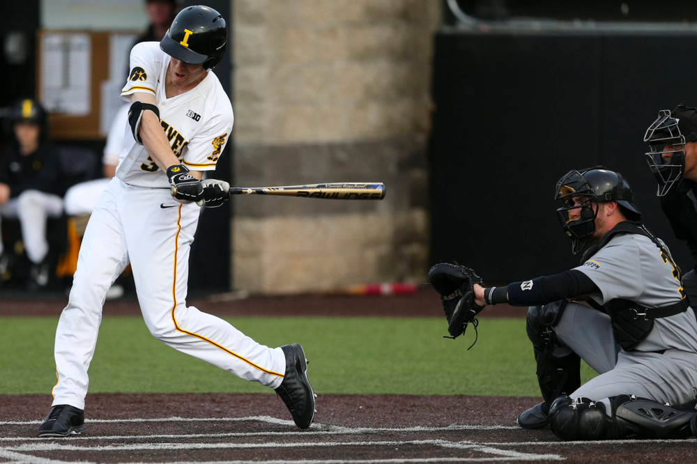 Iowa outfielder Connor McCaffery at baseball vs Milwaukee on Tuesday, April 23, 2019 at Duane Banks Field. (Lily Smith/hawkeyesports.com)