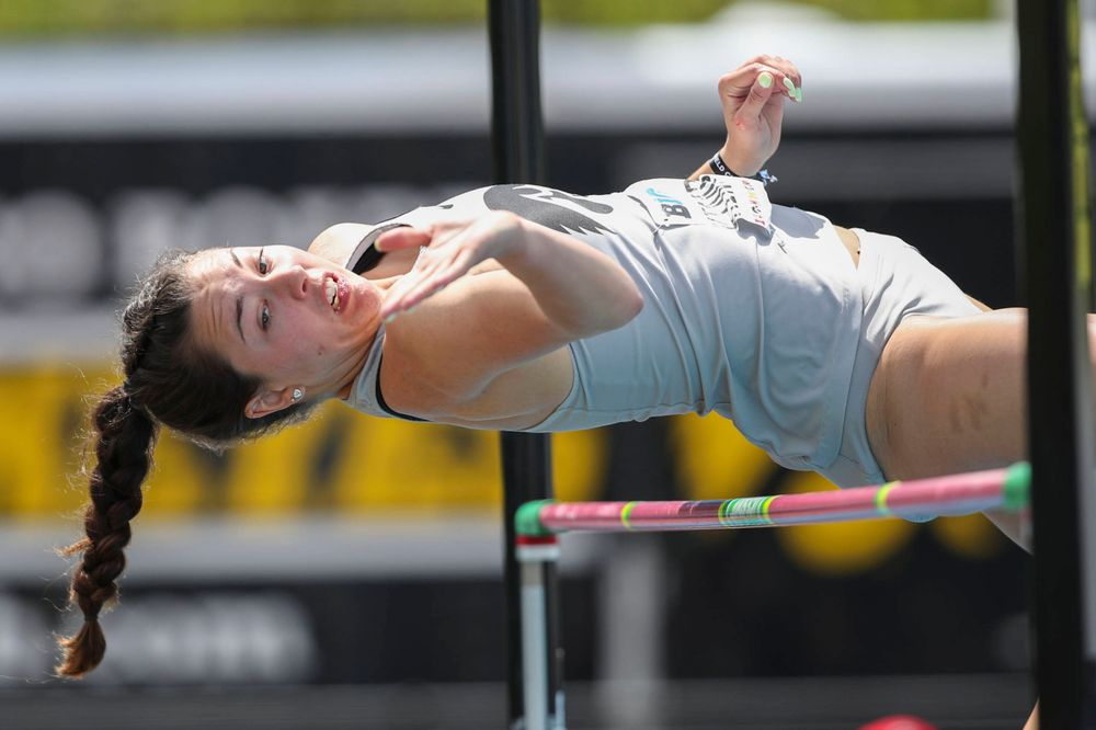 Iowa's Jenny Kimbro during the womenÕs high jump at the Big Ten Outdoor Track and Field Championships at Francis X. Cretzmeyer Track on Friday, May 10, 2019. (Lily Smith/hawkeyesports.com)