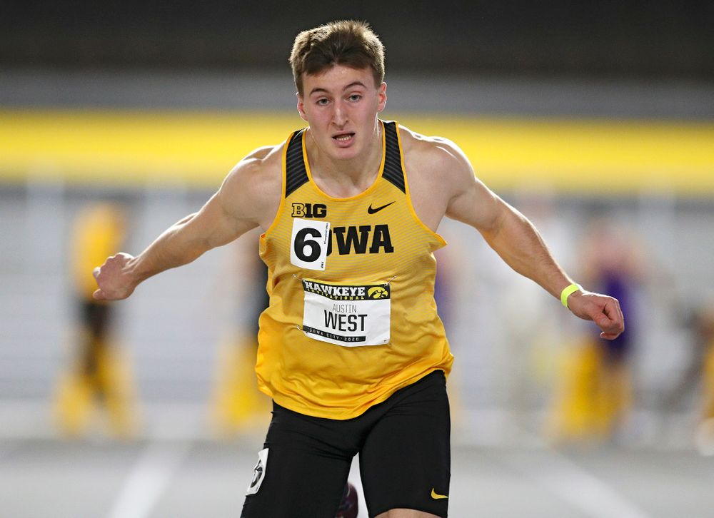 Iowa's Austin West runs in the men's 60 meter dash prelim event during the Hawkeye Invitational at the Recreation Building in Iowa City on Saturday, January 11, 2020. (Stephen Mally/hawkeyesports.com)