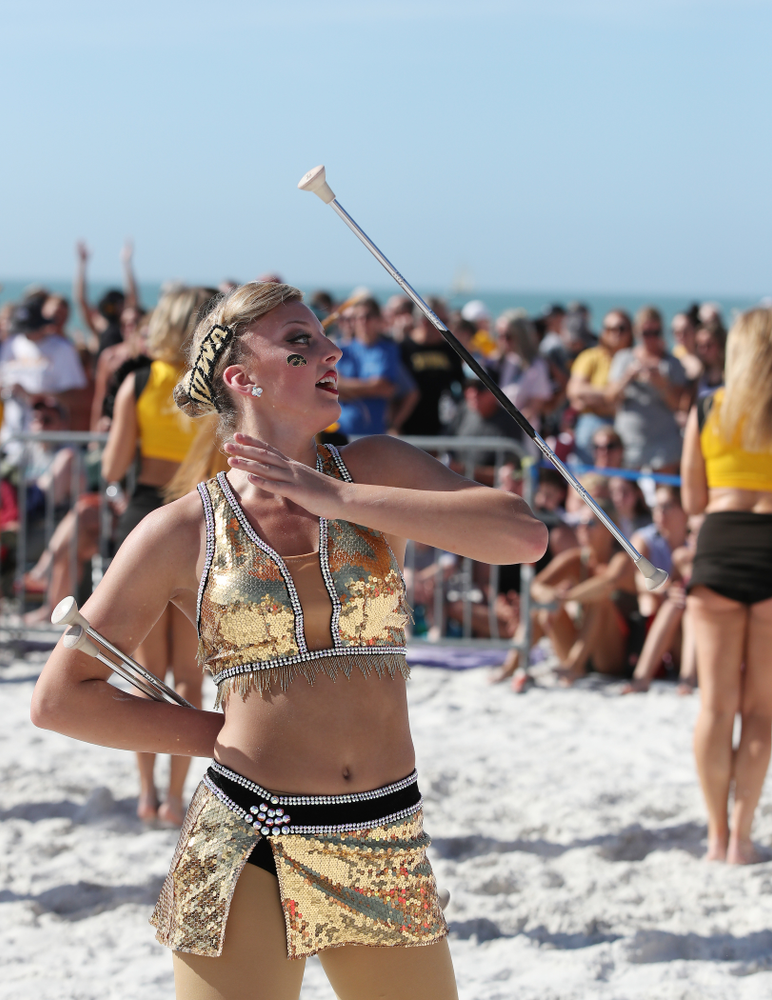 Hawkeye Marching Band Golden Girl Kylene Spanbauer during the Outback Bowl Beach Day Sunday, December 30, 2018 at Clearwater Beach. (Brian Ray/hawkeyesports.com)