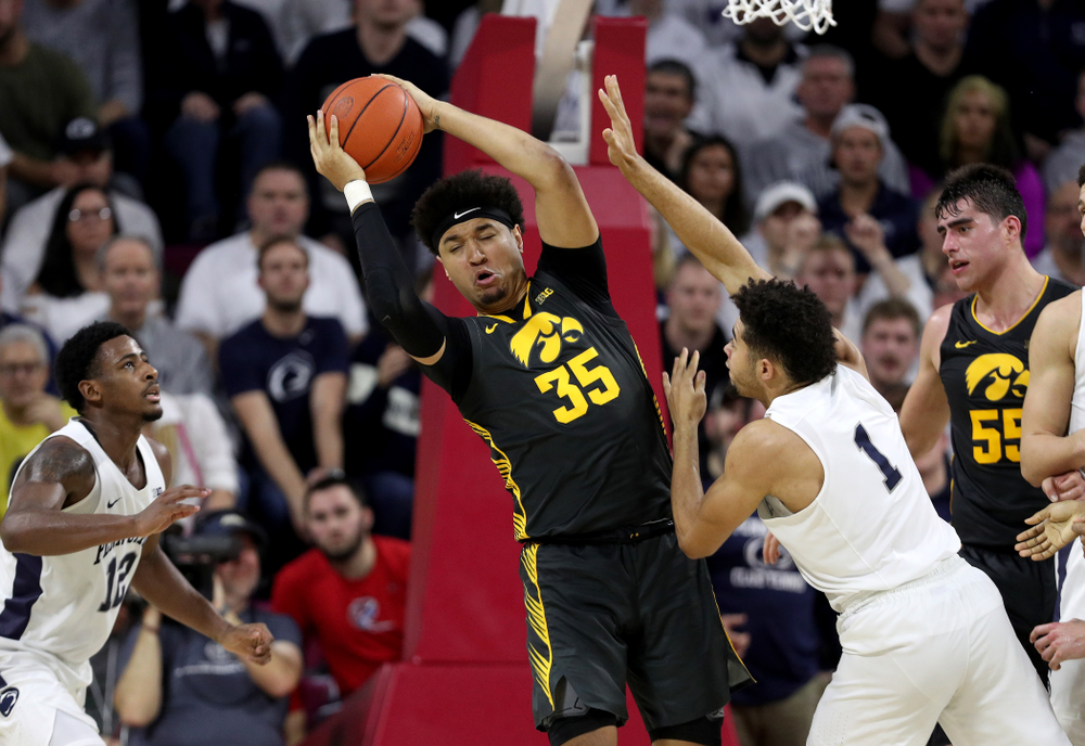 Iowa Hawkeyes forward Cordell Pemsl (35) against Penn State Saturday, January 4, 2020 at the Palestra in Philadelphia. (Brian Ray/hawkeyesports.com)