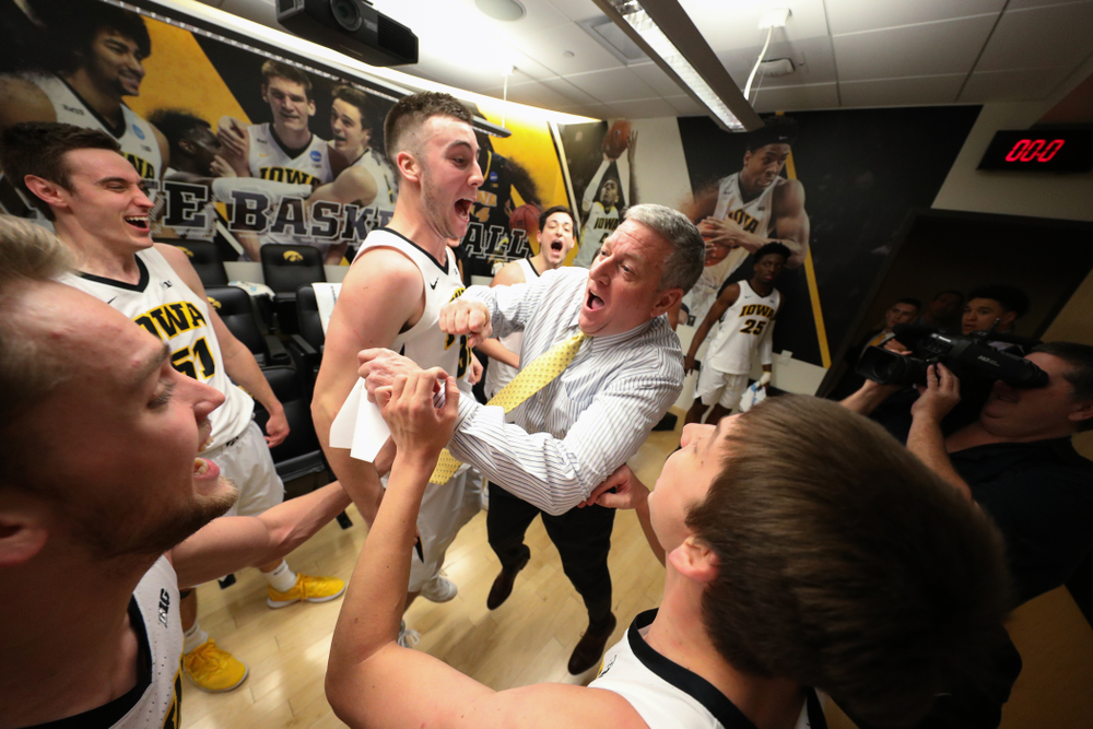 Iowa Hawkeyes guard Connor McCaffery (30) and assistant coach Kirk Speraw against the Michigan Wolverines Friday, February 1, 2019 at Carver-Hawkeye Arena. (Brian Ray/hawkeyesports.com)