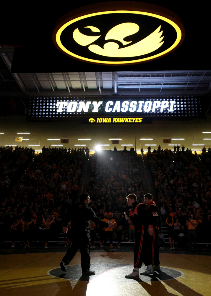 Tony Cassioppi is introduced before the Iowa Hawkeyes meet against Oklahoma State's at pounds Sunday, February 23, 2020 at Carver-Hawkeye Arena. (Brian Ray/hawkeyesports.com)