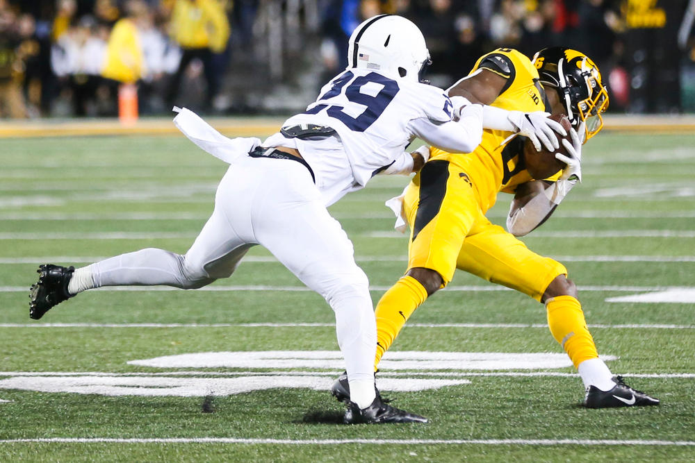 Iowa Hawkeyes wide receiver Ihmir Smith-Marsette (6) during Iowa football vs Penn State on Saturday, October 12, 2019 at Kinnick Stadium. (Lily Smith/hawkeyesports.com)