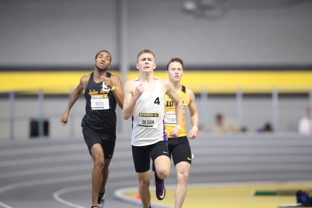 Iowa's Tyler Olson runs the men's 600 meter run event during the Hawkeye Invitational at the Recreation Building in Iowa City on Saturday, January 11, 2020. (Stephen Mally/hawkeyesports.com)