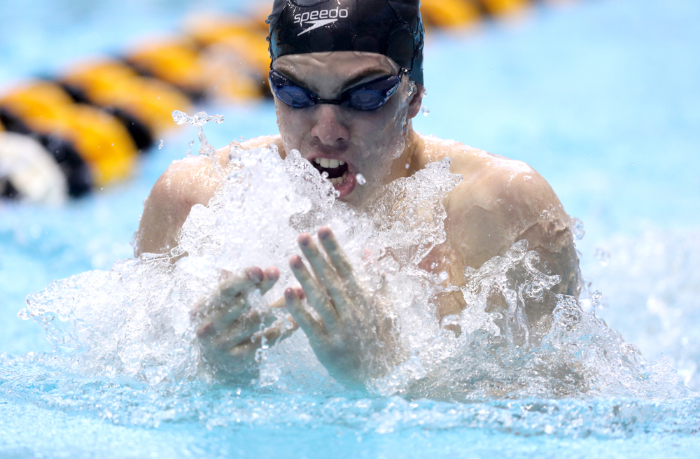 Iowa's Weston Credit competes in the 100-yard breaststroke on the third day at the 2019 Big Ten Swimming and Diving Championships Thursday, February 28, 2019 at the Campus Wellness and Recreation Center. (Brian Ray/hawkeyesports.com)