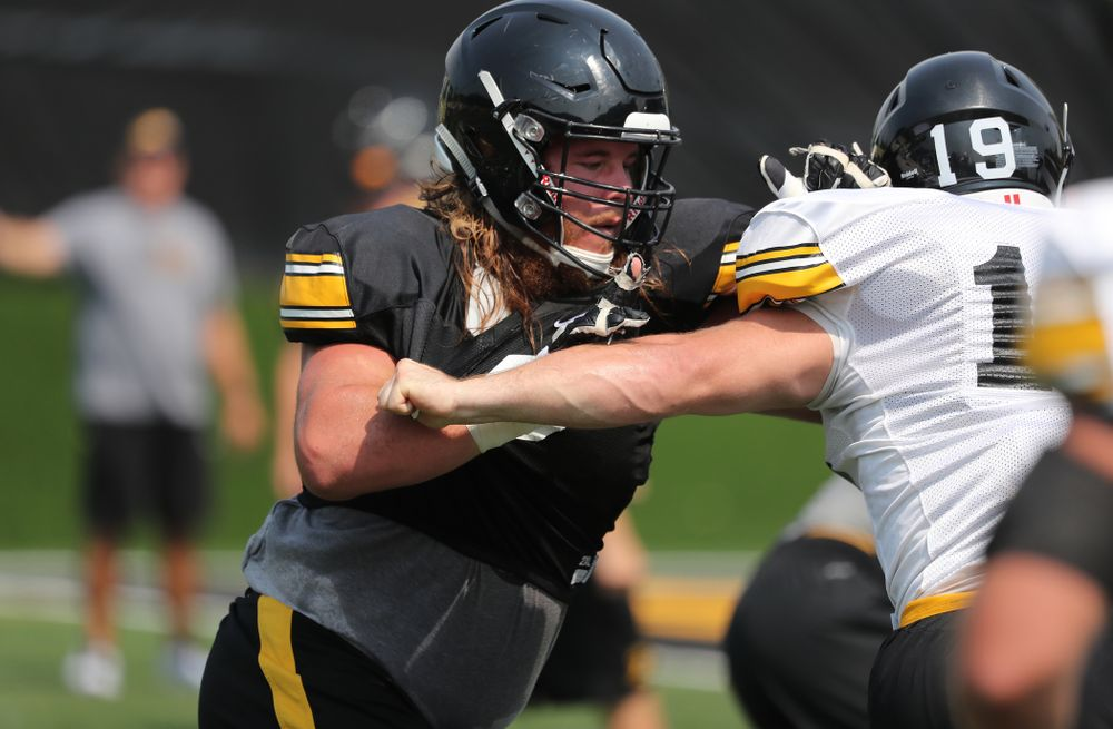 Iowa Hawkeyes offensive lineman Landan Paulsen (68) during the third practice of fall camp Sunday, August 5, 2018 at the Kenyon Football Practice Facility. (Brian Ray/hawkeyesports.com)