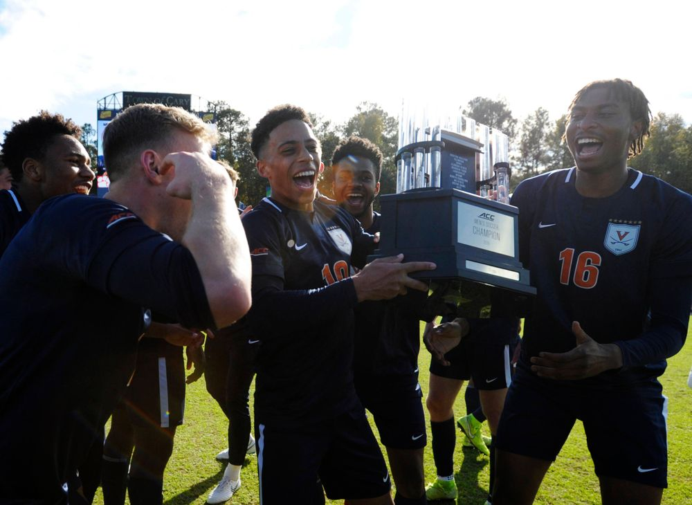 Virginia celebrates winning the 2019 ACC Men?s Soccer Championship at WakeMed Soccer Park in Cary, N.C., Sunday Nov. 17, 2019. (Photo by Sara D. Davis, the ACC)