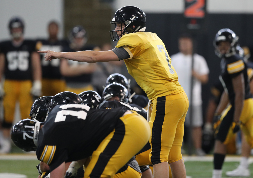 Iowa Hawkeyes quarterback Spencer Petras (7) during Fall Camp Practice No. 6 Thursday, August 8, 2019 at the Ronald D. and Margaret L. Kenyon Football Practice Facility. (Brian Ray/hawkeyesports.com)