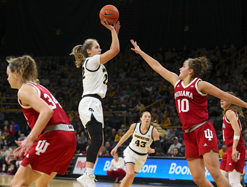 Iowa Hawkeyes guard Kathleen Doyle (22) makes a basket during the fourth quarter of their game at Carver-Hawkeye Arena in Iowa City on Sunday, January 12, 2020. (Stephen Mally/hawkeyesports.com)
