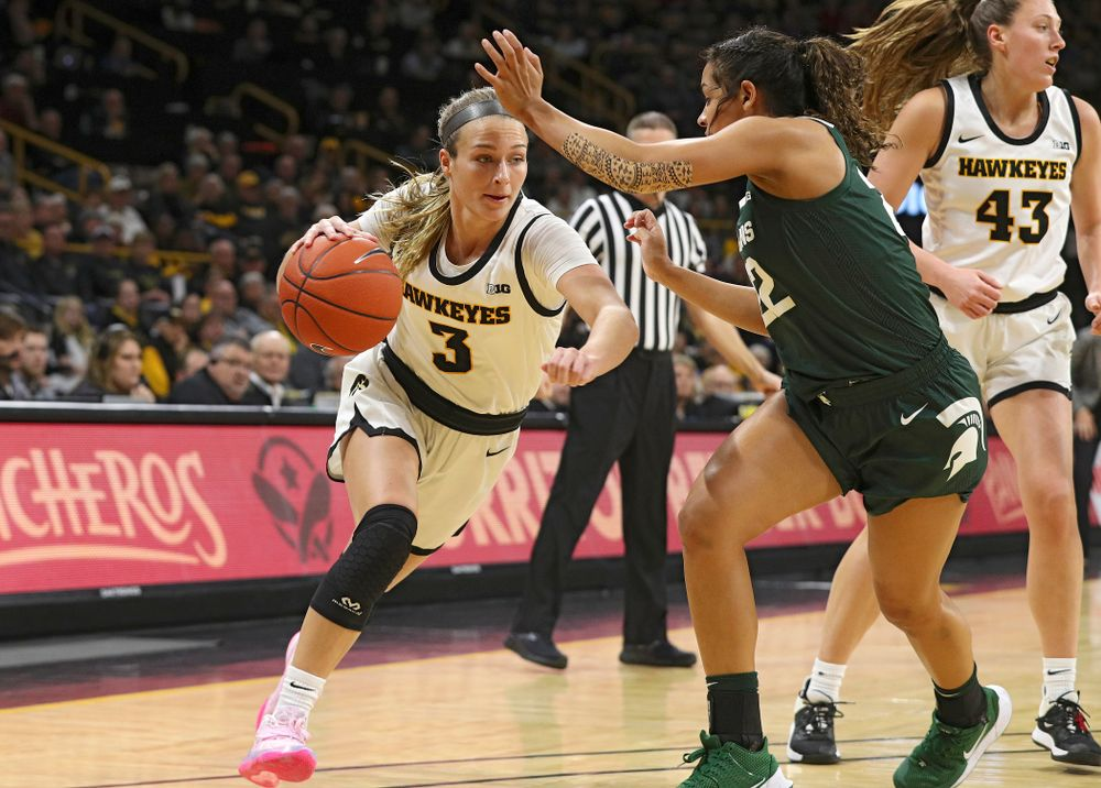 Iowa Hawkeyes guard Makenzie Meyer (3) drives with the ball during the first quarter of their game at Carver-Hawkeye Arena in Iowa City on Sunday, January 26, 2020. (Stephen Mally/hawkeyesports.com)