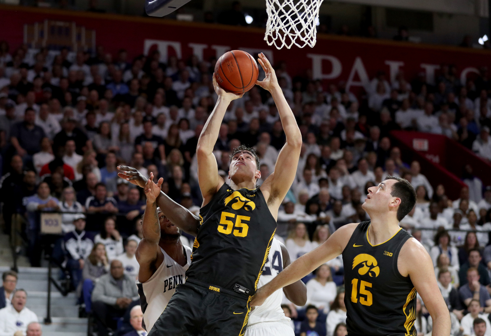 Iowa Hawkeyes forward Luka Garza (55) goes to the hoop against Penn State Friday, January 3, 2020 at the Palestra in Philadelphia. (Brian Ray/hawkeyesports.com)