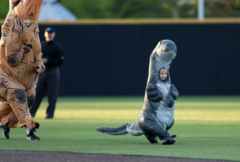 Connor Gorzelanny runs the dinosaur race during the Iowa Hawkeyes game against the Michigan State Spartans Friday, May 10, 2019 at Duane Banks Field. (Brian Ray/hawkeyesports.com)