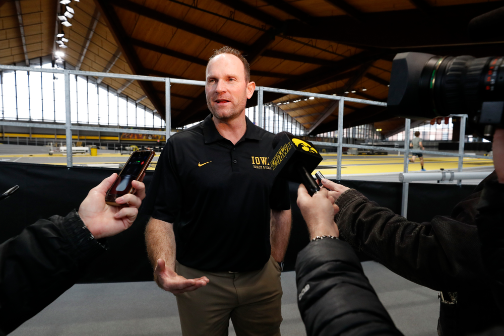 Director of Track and Field Joey Woody during the team's media day Wednesday, January 10, 2018 at the indoor track in the Recreation Building. (Brian Ray/hawkeyesports.com)