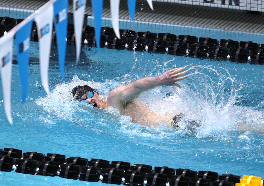 Iowa's Tom Schab swims in the preliminaries of the 500-yard freestyle during the 2019 Big Ten Swimming and Diving Championships Thursday, February 28, 2019 at the Campus Wellness and Recreation Center. (Brian Ray/hawkeyesports.com)