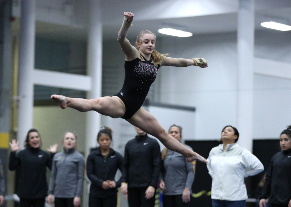 Lauren Guerin competes on the floor during the Black and Gold intrasquad meet Saturday, December 1, 2018 at the University of Iowa Field House. (Brian Ray/hawkeyesports.com)
