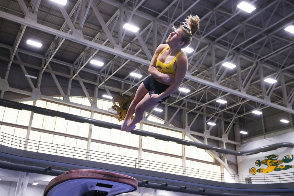 Alex Greenwald performs on the vault during the Iowa women's gymnastics Black and Gold Intraquad Meet on Saturday, December 7, 2019 at the UI Field House. (Lily Smith/hawkeyesports.com)