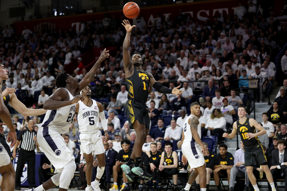 Iowa Hawkeyes guard Joe Toussaint (1) puts up a shot against Penn State Saturday, January 4, 2020 at the Palestra in Philadelphia. (Brian Ray/hawkeyesports.com)