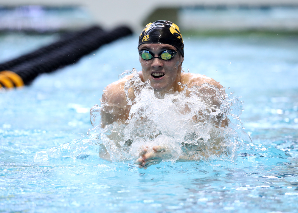 Iowa's Caleb Babb swims in the preliminaries of the 50-yard freestyle during the 2019 Big Ten Swimming and Diving Championships Thursday, February 28, 2019 at the Campus Wellness and Recreation Center. (Brian Ray/hawkeyesports.com)