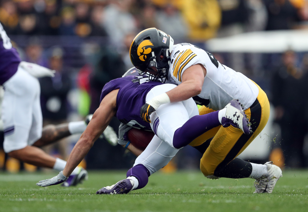 Iowa Hawkeyes linebacker Dillon Doyle (43) against the Northwestern Wildcats Saturday, October 26, 2019 at Ryan Field in Evanston, Ill. (Brian Ray/hawkeyesports.com)