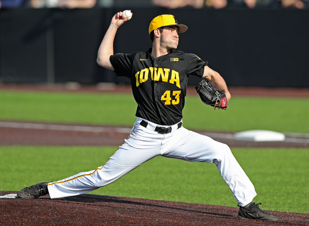 Iowa Hawkeyes pitcher Grant Leonard (43) delivers to the plate for a strikeout during the ninth inning of their game against Rutgers at Duane Banks Field in Iowa City on Saturday, Apr. 6, 2019. (Stephen Mally/hawkeyesports.com)