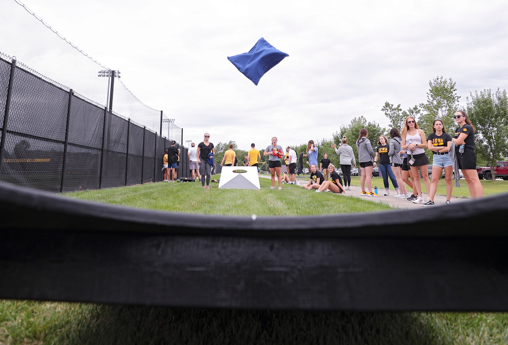 Student-athletes play bags during the Student-Athlete Kickoff outside the Karro Athletics Hall of Fame Building in Iowa City on Sunday, Aug 25, 2019. (Stephen Mally/hawkeyesports.com)