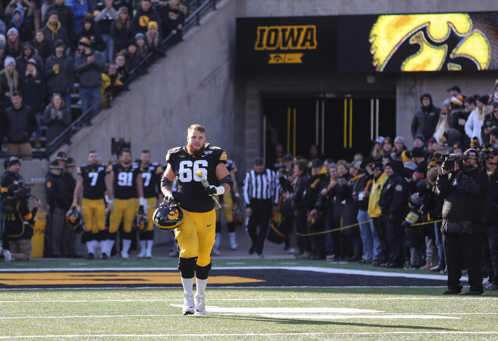 Iowa Hawkeyes offensive lineman Levi Paulsen (66) during Senior Day festivities before their game against the Illinois Fighting Illini Saturday, November 23, 2019 at Kinnick Stadium. (Brian Ray/hawkeyesports.com)