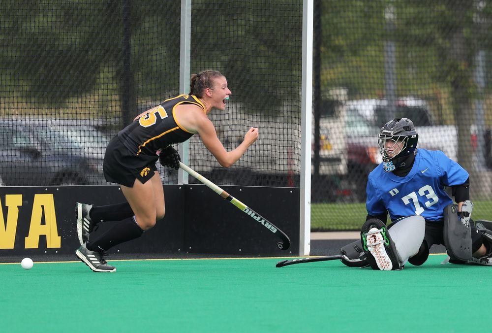 Iowa Hawkeyes Esme Gibson (15) celebrates a goal against the Duke Blue Devils Sunday, September 15, 2019 at Grant Field.  (Brian Ray/hawkeyesports.com)