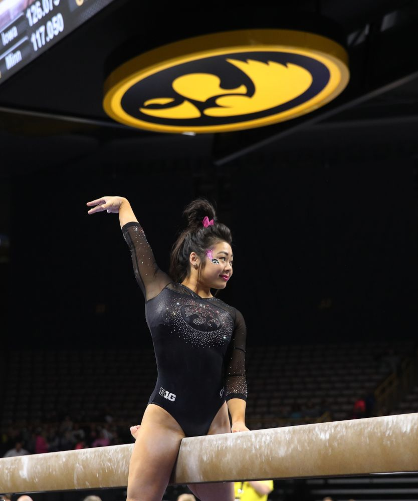 Iowa's Clair Kaji competes on the beam against the Minnesota Golden Gophers Saturday, January 19, 2019 at Carver-Hawkeye Arena. (Brian Ray/hawkeyesports.com)