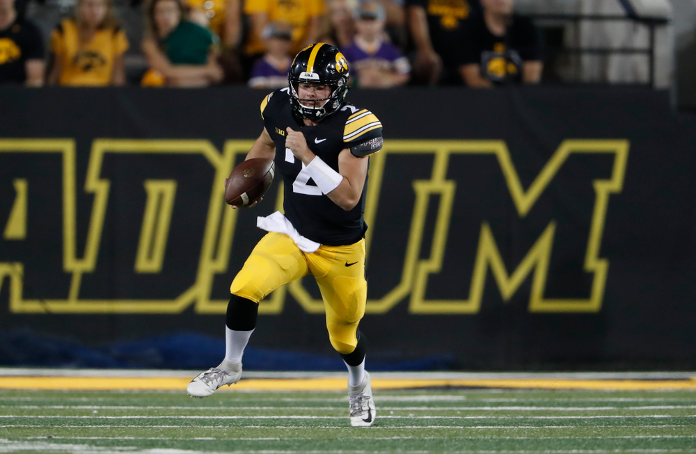 Iowa Hawkeyes quarterback Peyton Mansell (2) against the Northern Iowa Panthers Saturday, September 15, 2018 at Kinnick Stadium. (Brian Ray/hawkeyesports.com)
