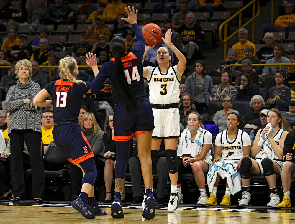 Iowa Hawkeyes guard Makenzie Meyer (3) makes a 3-pointer during the third quarter of their game at Carver-Hawkeye Arena in Iowa City on Tuesday, December 31, 2019. (Stephen Mally/hawkeyesports.com)