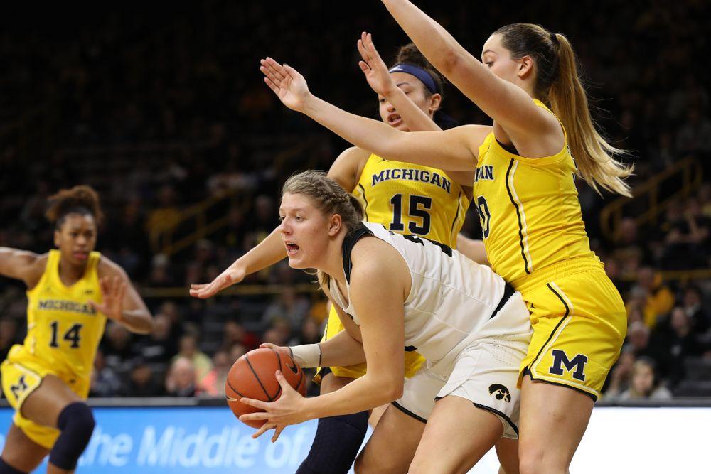 Iowa Hawkeyes forward/center Monika Czinano (25) against the Michigan Wolverines Thursday, January 17, 2019 at Carver-Hawkeye Arena. (Brian Ray/hawkeyesports.com)