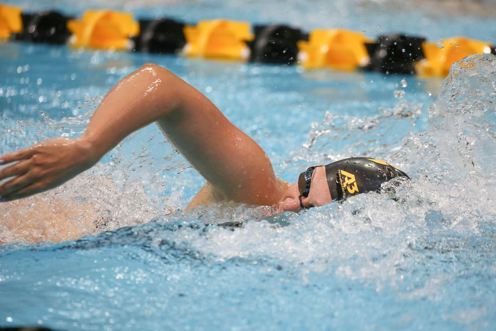 Iowa's Lauren McDougall swims the 200-yard freestyle during the Iowa swimming and diving meet vs Notre Dame and Illinois on Saturday, January 11, 2020 at the Campus Recreation and Wellness Center. (Lily Smith/hawkeyesports.com)