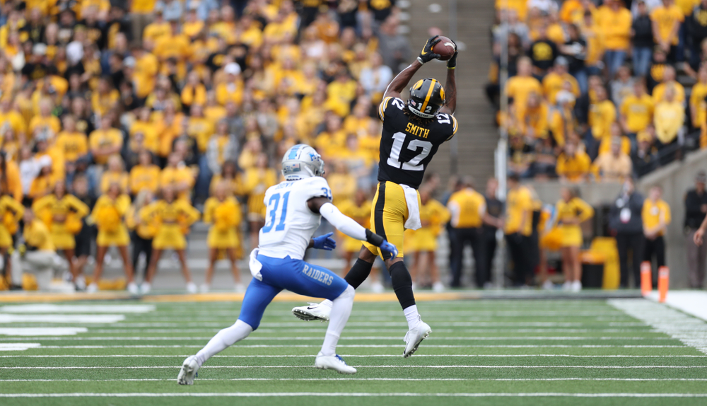 Iowa Hawkeyes wide receiver Brandon Smith (12) against Middle Tennessee State Saturday, September 28, 2019 at Kinnick Stadium. (Max Allen/hawkeyesports.com)