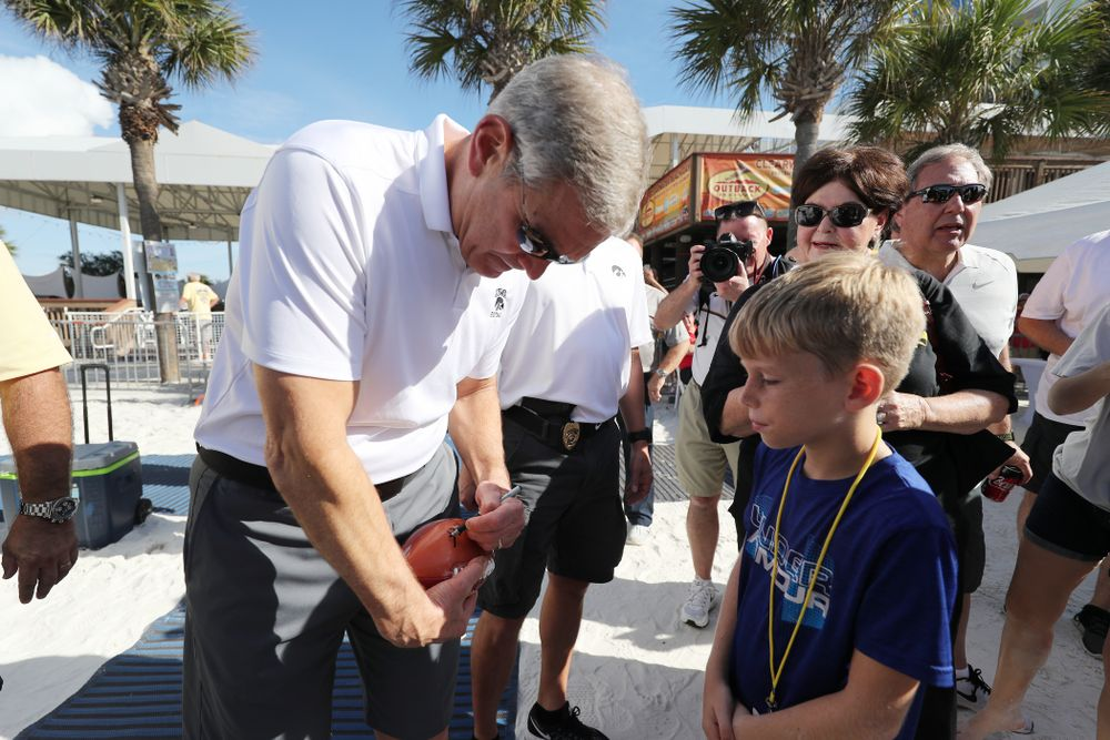 Iowa Hawkeyes head coach Kirk Ferentz during the Outback Bowl Beach Day Sunday, December 30, 2018 at Clearwater Beach. (Brian Ray/hawkeyesports.com)