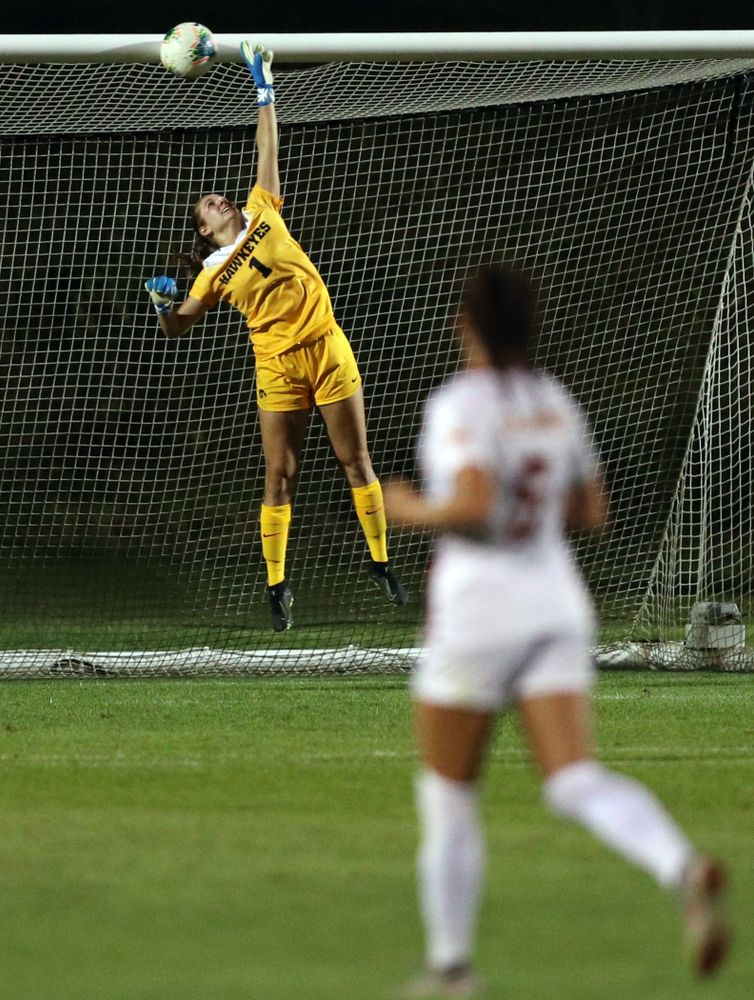 Iowa Hawkeyes goalkeeper Claire Graves (1) makes a save during a 2-1 victory over the Iowa State Cyclones Thursday, August 29, 2019 in the Iowa Corn Cy-Hawk series at the Iowa Soccer Complex. (Brian Ray/hawkeyesports.com)
