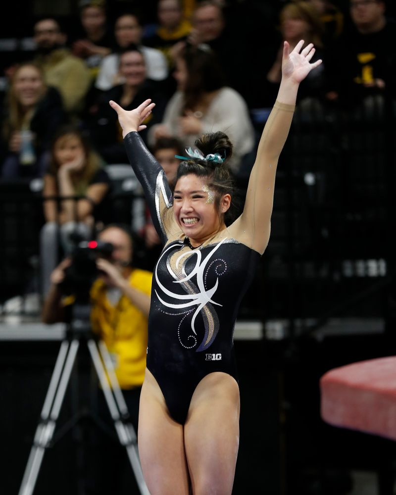 Iowa's Nicole Chow competes on the vault against the Nebraska Cornhuskers