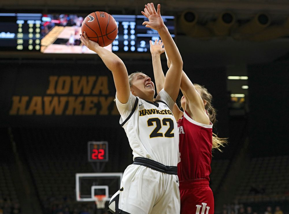 Iowa Hawkeyes guard Kathleen Doyle (22) makes a basket during the first quarter of their game at Carver-Hawkeye Arena in Iowa City on Sunday, January 12, 2020. (Stephen Mally/hawkeyesports.com)