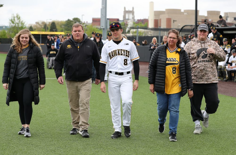 Iowa Hawkeyes outfielder Luke Farley (8) during senior day festivities before their game against Michigan State Sunday, May 12, 2019 at Duane Banks Field. (Brian Ray/hawkeyesports.com)