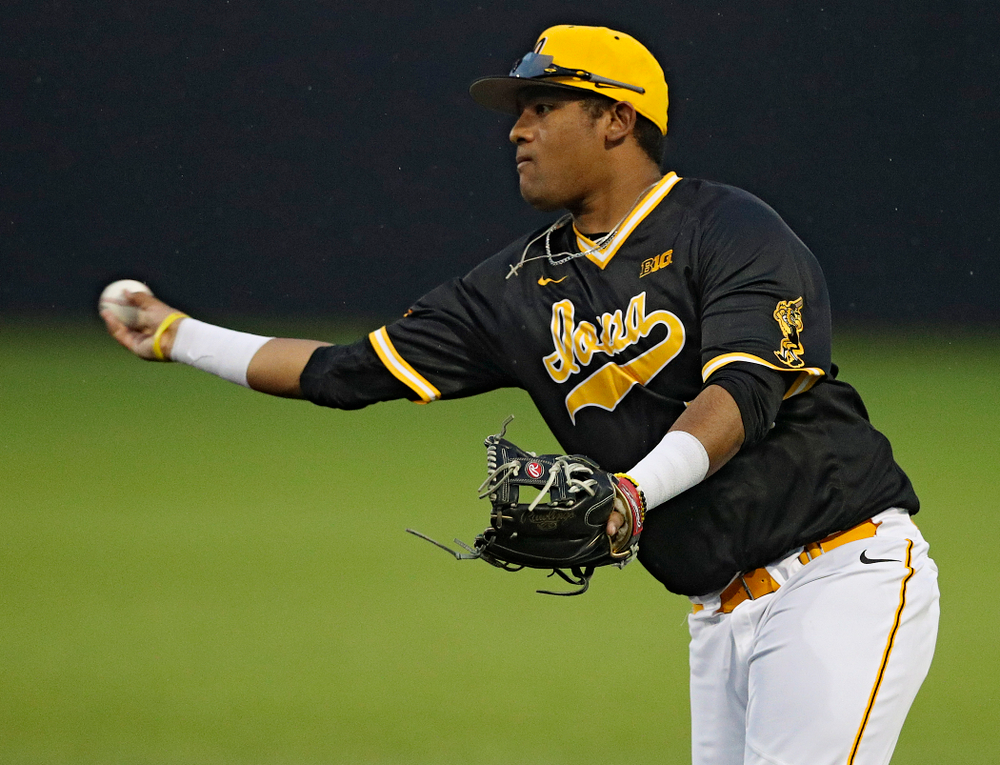 Iowa Hawkeyes second baseman Izaya Fullard (20) throws to first base for an out during the ninth inning of their game against Illinois State at Duane Banks Field in Iowa City on Wednesday, Apr. 3, 2019. (Stephen Mally/hawkeyesports.com)