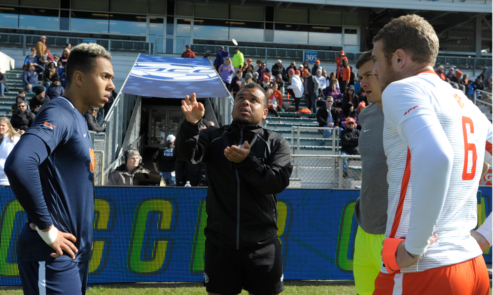 The coin toss starts the Virginia versus Clemson 2019 ACC Men?s Soccer Championship at WakeMed Soccer Park in Cary, N.C., Sunday Nov. 17, 2019. (Photo by Sara D. Davis, the ACC)