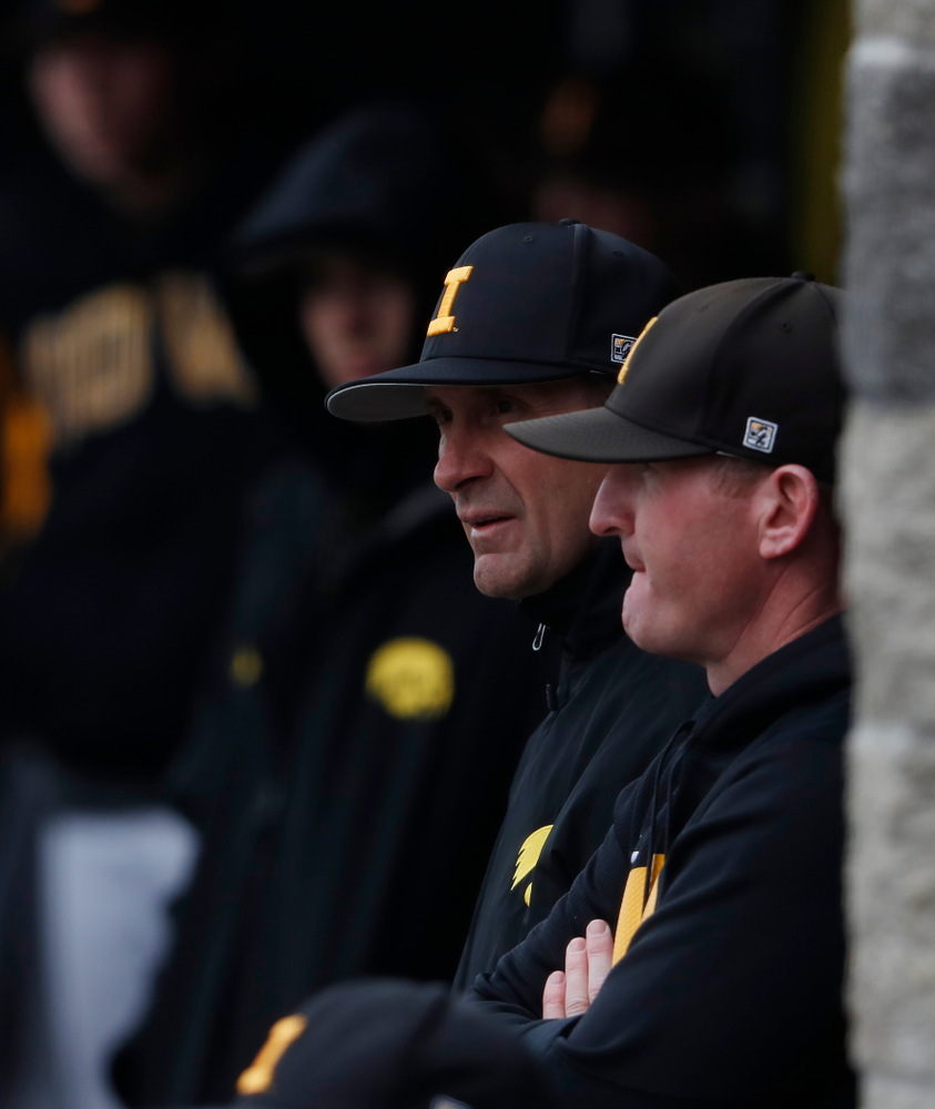 Iowa Hawkeyes head coach Rick Heller during a double header against the Indiana Hoosiers Friday, March 23, 2018 at Duane Banks Field. (Brian Ray/hawkeyesports.com)