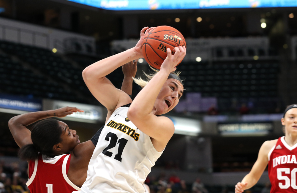 Iowa Hawkeyes forward Hannah Stewart (21) against the Indiana Hoosiers in the quarterfinals of the Big Ten Tournament Friday, March 8, 2019 at Bankers Life Fieldhouse in Indianapolis, Ind. (Brian Ray/hawkeyesports.com)