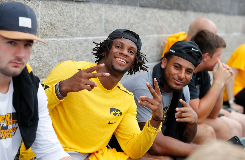 Iowa Hawkeyes wide receiver Ihmir Smith-Marsette (6) and defensive back Geno Stone (9) during the Iowa Student Athlete Kickoff Kickball game  Sunday, August 19, 2018 at Duane Banks Field. (Brian Ray/hawkeyesports.com)