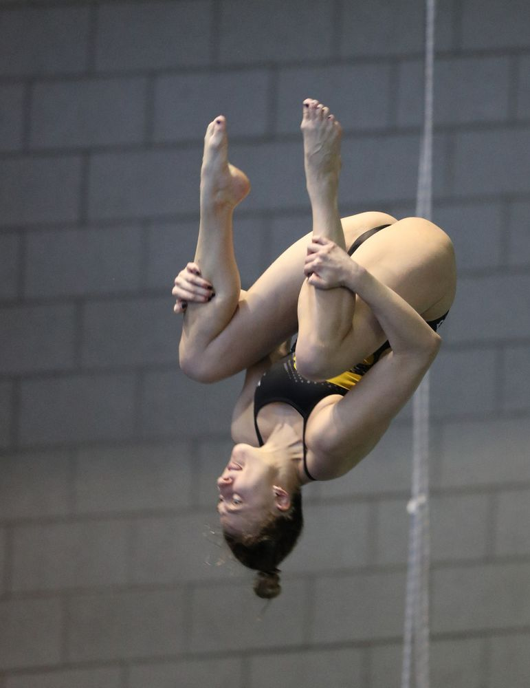 Iowa's Sam Tamborski competes on the 3 meter springboard during a double dual against Wisconsin and Northwestern Saturday, January 19, 2019 at the Campus Recreation and Wellness Center. (Brian Ray/hawkeyesports.com)