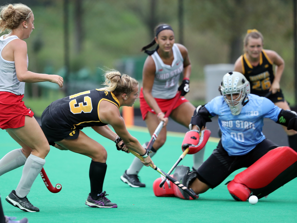Iowa Hawkeyes forward Leah Zellner (13) scores her second goal during a 2-1 victory against the Ohio State Buckeyes Friday, September 27, 2019 at Grant Field. (Brian Ray/hawkeyesports.com)
