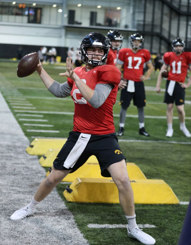 Iowa Hawkeyes quarterback Peyton Mansell (2) during preparation for the 2019 Outback Bowl Monday, December 17, 2018 at the Hansen Football Performance Center. (Brian Ray/hawkeyesports.com)